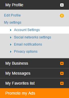 Account Settings - Left menu