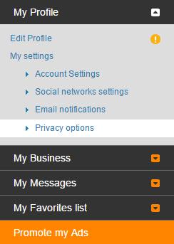 Privacy options menu