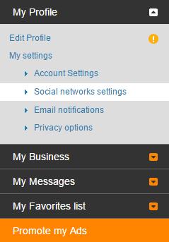 Social networks settings - Control panel