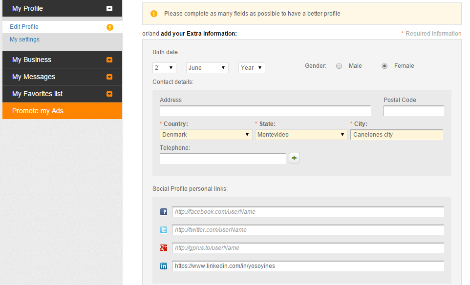 Social Profile - Edit social profile